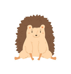 Portrait smiling lovely hedgehog flat vector
