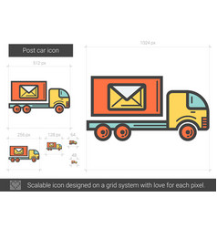 Post car line icon vector