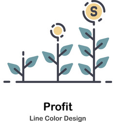 Profit lineal color icon vector