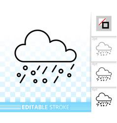 rain simple black line icon vector image
