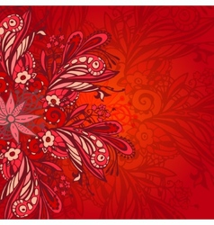 Red flower seamless pattern vector image