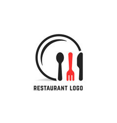 restaurant service logo isolated on white vector image