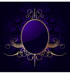 Royal purple background with golden frame vector