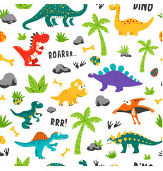 Seamless pattern cute and funny flat vector