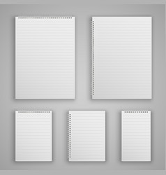 set blank realistic spiral notepad vector image
