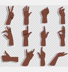 set hands showing different gestures vector image
