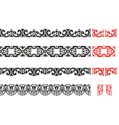 Set of decorative seamless ornamental border vector