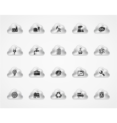 Set of industrial icons on metallic clouds vector image