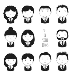 Set of monochrome silhouette office people icons vector image