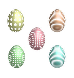 set of patterned easter eggs in 3d vector image