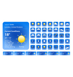 set weather icons all icons for weather vector image