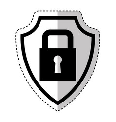 Shield insurance with padlock isolated icon vector