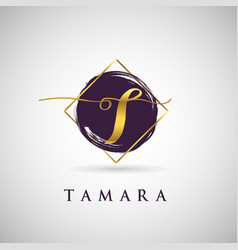 simple elegance initial letter t gold logo type vector image