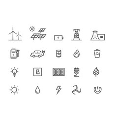 simple set power source energy thin line vector image