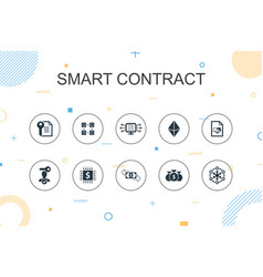 Smart contract trendy infographic template thin vector