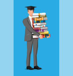 student businessman and stack books vector image