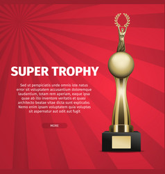 super trophy web banner with golden cup vector image