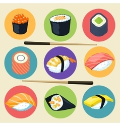 Sushi set Asian food vector