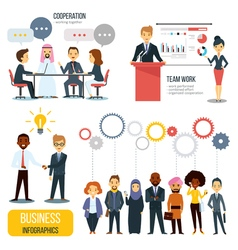 Teamwork And Partnership Business Infographics Set vector