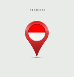 Teardrop map marker with flag indonesia vector