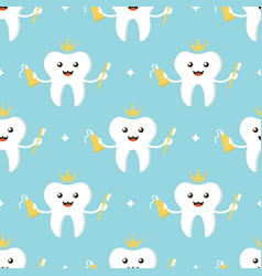 tooth character with brush and toothpaste pattern vector image