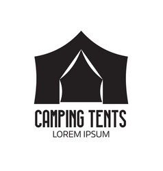Tourist camp logo or tent icon vector