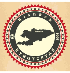 Vintage label-sticker cards of Kyrgyzstan vector image