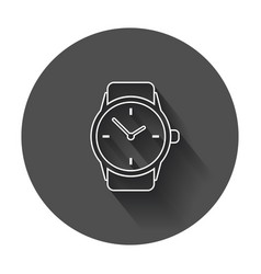 watch icon in line style clock flat with long vector image