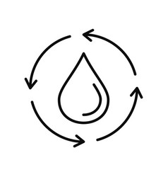 water drop recycling icon outline style vector image