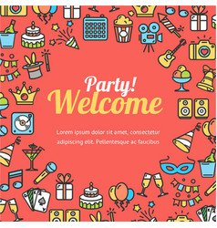 Welcome party invitation card vector