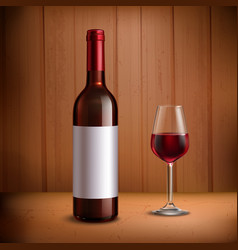 Wine Bottle Template With Glass Of Red Wine vector