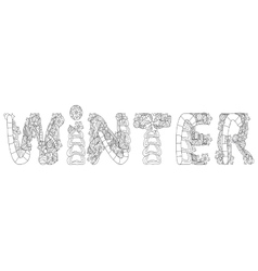 Winter inscription coloring vector image