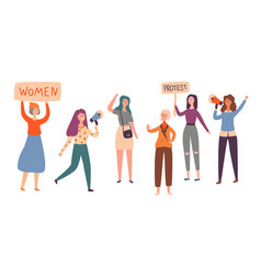 women feminism character group protest strike vector image