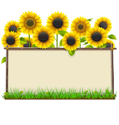 Wooden frame with sunflowers vector