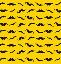 Yellow pattern with retro mustache for design vector