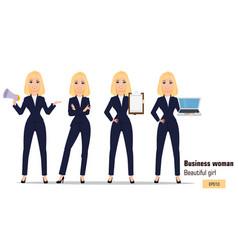 Young cartoon businesswoman set beautiful blonde vector