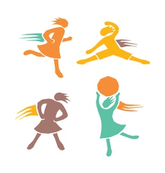 Active girls fitness sports set 4 vector