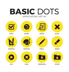 application flat icons set vector image