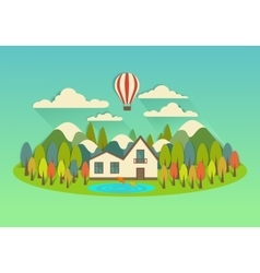 City on the island with balloon vector