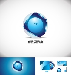 Corporate business circle 3d logo sphere blue vector image vector image