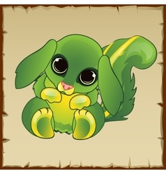 Cute green pussy with long ears vector image vector image