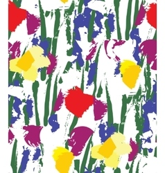 Flowers color seamless pattern wallpaper on white vector image