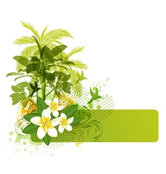 Green palms and tropical flowers vector image vector image