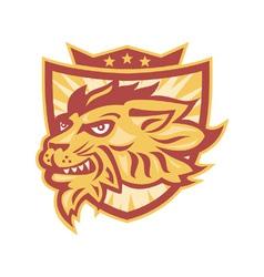 Lion Mascot Head Shield vector image