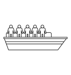 People on ship icon outline style vector image vector image