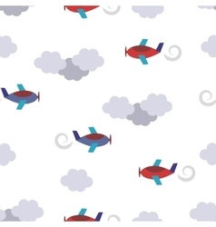 Seamless pattern with planes in clouds vector image