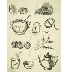 Set of vintage hand drawn tea icons vector