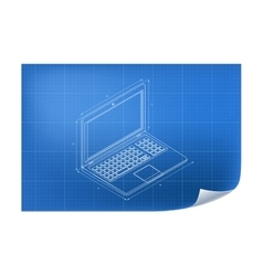 Technical with laptop drawing vector image vector image