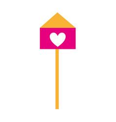 Bird house with heart vector