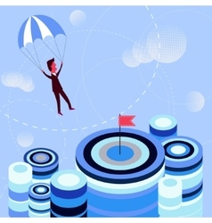 Businessman flying parachute to the aim vector
